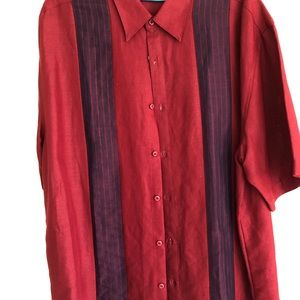 Men's Cubavera Embroidered  sz L Wine with Red